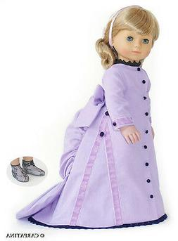 "Doll Clothes 18"" Dress Victorian Bustle Lavender Carpatina F"