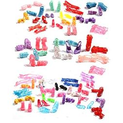 Buytra 60 Pairs Doll Shoes High Heeled Shoes Boots Accessori
