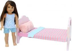 PZAS Toys Doll Bed - for 18 Inch Doll, Complete Set with Lin