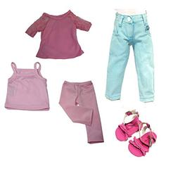 Arianna 5pc Bundle 18 inch Doll Clothes | Blue Zip Pocket Je