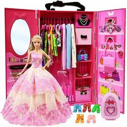 Doll Closet Wardrobe For 11.5 Inch Girl Doll Clothes And Acc
