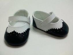 "Doll Clothe 18"" Shoes Black and White Mary Jane Fits America"
