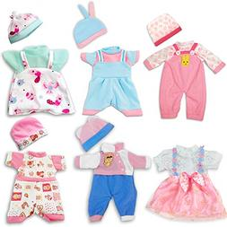 "ARTST, Doll Clothes, 12"" Baby Doll Clothes, 6 Sets Include 5"