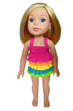 "Doll Clothes 14.5"" Bathing Suit Ruffle Rainbow Fits AG WELLI"