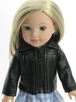 "Black Leather Jacket Doll Clothes For 14.5"" Wellie Wishers D"