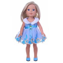 "Doll Clothes 14.5"" Dress Blue Fits 14.5"" Wellie Wishers AG D"