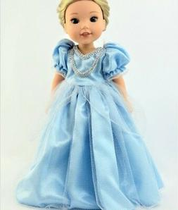 """Doll Clothes 14.5 Dress Blue Princess Made To Fit 14.5"""" AG W"""