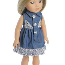 """Doll Clothes 14.5"""" Dress Denim Lace For Wellie Wishers Dolls"""