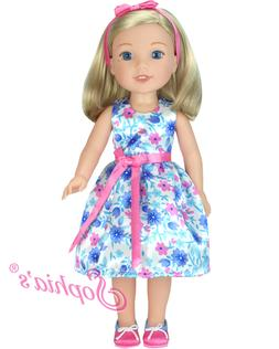 """Doll Clothes 14.5"""" Dress Floral Shoes Headband Fit 14.5"""" AG"""