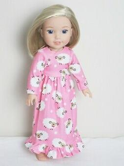 "Doll Clothes 14.5"" Nightgown Pink Lamb Fits American Girl We"