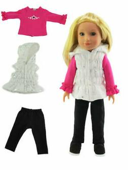 "Doll Clothes 14.5"" Pants Vest Top 3 PC Set for Wellie Wisher"
