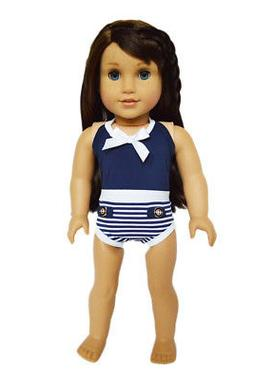 "Doll Clothes 18"" Bathing Suit Navy White One-piece Fits Amer"