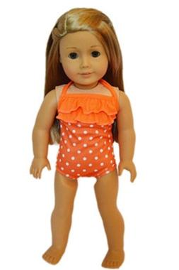 "Doll Clothes 18"" Bathing Suit Orange White Polka Dot Fits Am"