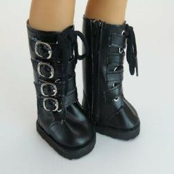 """Doll Clothes 18"""" Boots Black Buckle Leather Zipper Fits  Ame"""