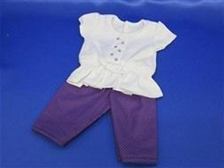 "Doll Clothes 18"" Capri Pants Purple Polka Dot Top White Fits"