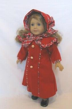 """Doll Clothes 18"""" Coat Red Wool Dress Plaid Hat Red Plaid Woo"""
