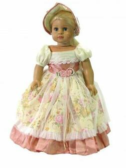 """Doll Clothes 18"""" Colonial Dress Pink Yellow Floral Hat Fit 1"""