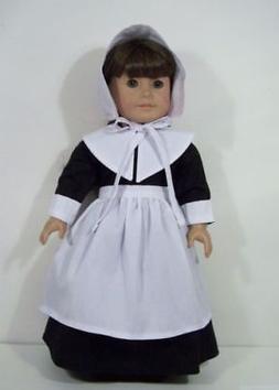"Doll Clothes 18"" Colonial Pilgrim Dress Black White Fits Ame"