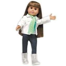 """Doll Clothes 18"""" Denim Jean Jacket White Scarf Lime Fits Ame"""