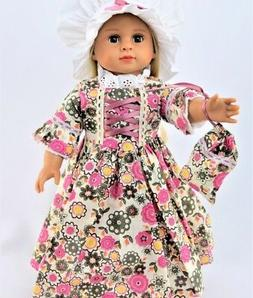 """Doll Clothes 18"""" Doll Colonial Dress Floral Fits American Gi"""