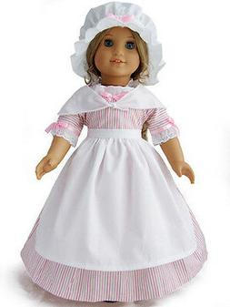 "Doll Clothes 18"" Doll Colonial Dress Pink White Fit American"