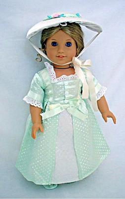 "Doll Clothes 18"" Colonial Dress Party Summer Bonnet Fits Ame"
