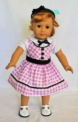"Doll Clothes 18"" Doll Dress Pink White Fits American Girl Do"