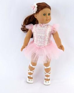 "Doll Clothes 18"" Dolls Ballerina Dress Pink Slipper Fits Ame"