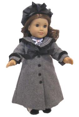 "Doll Clothes 18"" Victorian Coat Hat Wool Grey Dress Plaid Na"