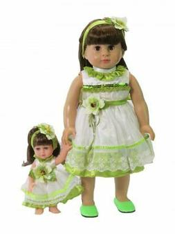 """Doll Clothes 18"""" Dress Green White Lace Headband Free 8"""" Dol"""