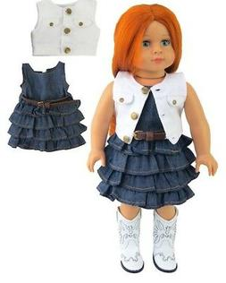 "Doll Clothes 18"" Dress Jean Vest White Western Fits American"