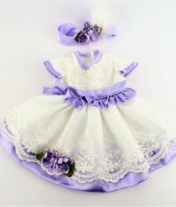 "Doll Clothes 18"" Dress Lavender Lace Headband Fits American"