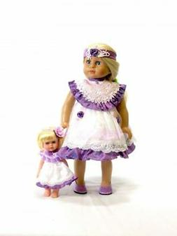 """Doll Clothes 18"""" Dress Lavender White Lace Headband FREE 8"""""""