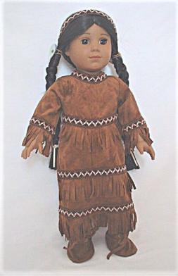 """Doll Clothes 18"""" Dress Native American Indian Headband Shoes"""
