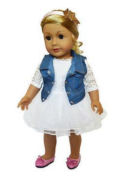 "Doll Clothes 18"" Dress White Jean Vest Headband Fits America"