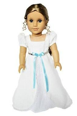 "Doll Clothes 18"" Dress White Victorian Headband Fits America"