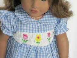Doll Clothes 18 Inch Dress Blue Plaid Smocked Floral For Ame