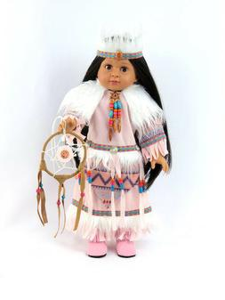 """Doll Clothes Pink Native American Dress & Headband For 18"""" A"""