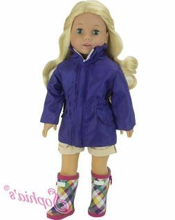"Doll Clothes 18"" Parka Coat Purple Rain Boots Sophias Fits A"