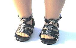 "Doll Clothes 18"" Sandals Black Shoes Ankle Strap Fits Americ"
