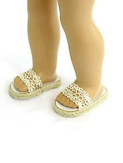 "Doll Clothes 18"" Sandals Crochet Lace Cream Fits American Gi"