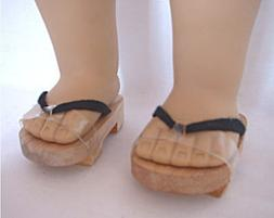 "Doll Clothes 18"" Sandals Japanese Wooden Fits American Girl"