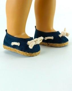 "Doll Clothes 18"" Sandals Navy Nautical Fits American Girl Do"