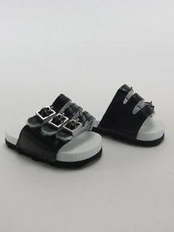 "Doll Clothes 18"" Sandals Shoes Strap Black Fits American Gir"
