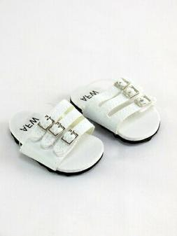 "Doll Clothes 18"" Sandals Shoes Strap White Fits American Gir"