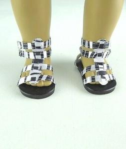"Doll Clothes 18"" Sandals Shoes Zebra Strap Fits American Gir"