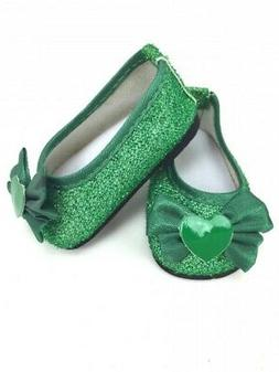 """Doll Clothes 18"""" Shoes Ballet Sparkle Green Heart  Fits Amer"""
