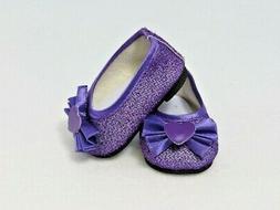 """Doll Clothes 18"""" Shoes Ballet Sparkle Purple Heart  Fits Ame"""