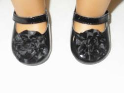 "Doll Clothes 18"" Shoes Black Mary Jane Flower Arianna Fits A"