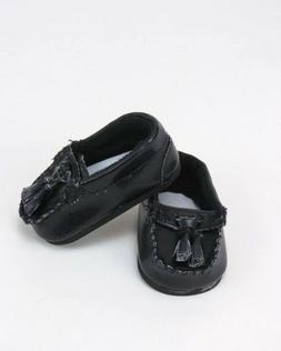 "Doll Clothes 18"" Shoes Loafers Black Leather Fits American G"